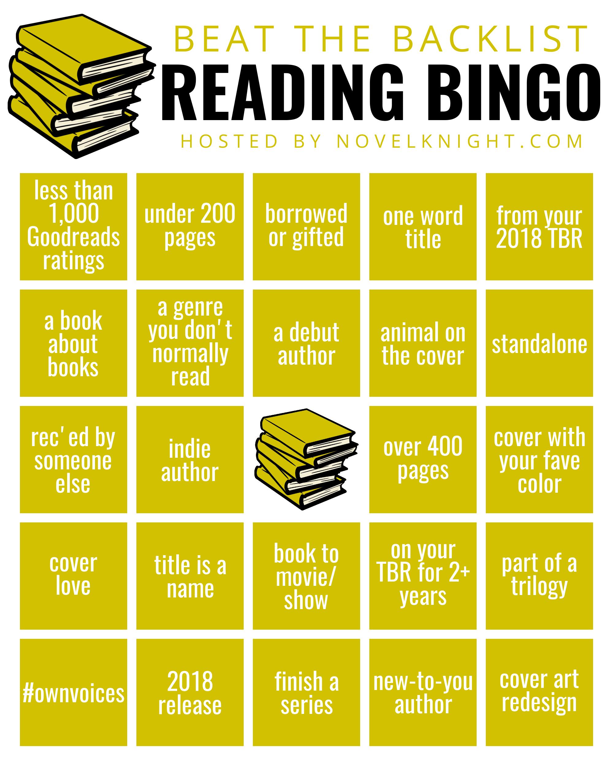 2020 Reading Challenge List.2019 Beat The Backlist Novelknight Book Reviews